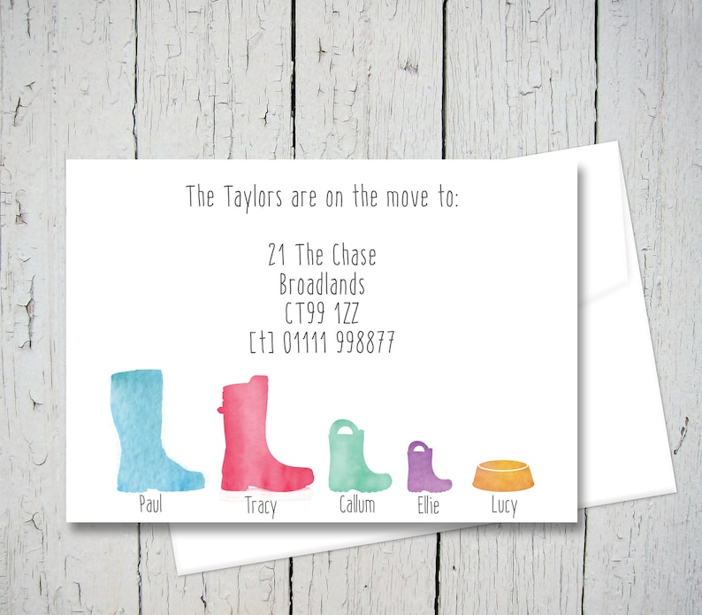picture about Printable Change of Address Cards identify Wellington boot difference of include playing cards, going residence announcement, Going Room deal with card, variation of include postcard (x 24 or printable)