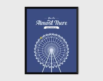 Japanese Ferris Wheel Retro Print Illustration & Typography Poster [purple]
