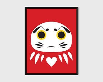 Japanese Daruma Print Pop Art Wish Doll Illustration Poster [red]