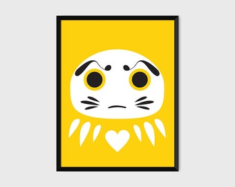 Japanese Daruma Print Pop Art Wish Doll Illustration Poster [yellow]