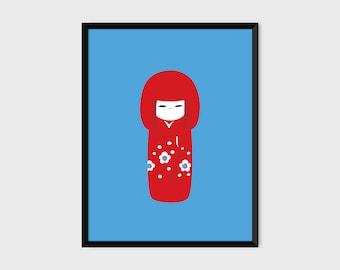 Japanese Kokeshi Print Pop Art Doll Illustration Poster [red]