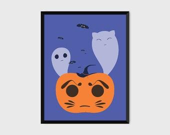Japanese Halloween Daruma Jack-o'-Lantern Ghosts Print Pop Art Illustration