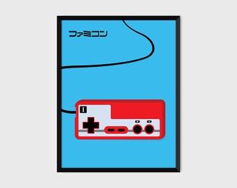 Japanese Famicom Gaming Controller Print Pop Art Illustration Poster [blue]