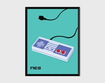 Japanese NES Gaming Controller Print Pop Art Illustration Poster [green]