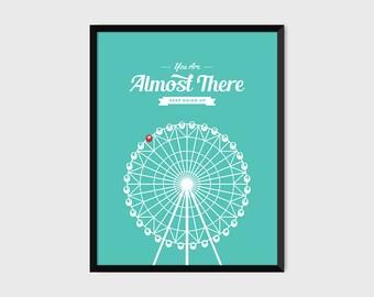 Japanese Ferris Wheel Retro Print Illustration & Typography Poster [green]