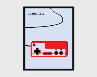 Japanese Famicom Gaming Controller Print Pop Art Illustration Poster [grey]