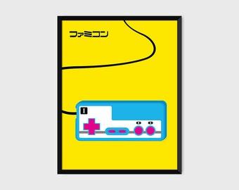 Japanese Famicom Gaming Controller Print Pop Art Illustration Poster [yellow]