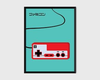 Japanese Famicom Gaming Controller Print Pop Art Illustration Poster [green]