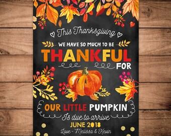 Thanksgiving Little Pumpkin Thankful pregnancy announcement Pregnancy reveal chalkboard Watercolour pregnancy card holiday