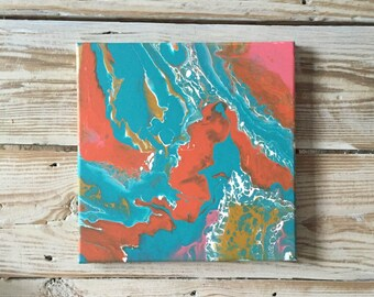 Blue Sandstorm- Fluid Acrylic Painting on Cotton Canvas