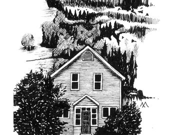 """House Print- """"An Old House, a Knew House"""" pen drawing, limited release"""