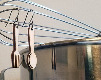 Spoon and Fork Hypoallergenic Laser cut Wood and Niobium Earrings; For The Foodie, Cook or Master Chef in Your Life