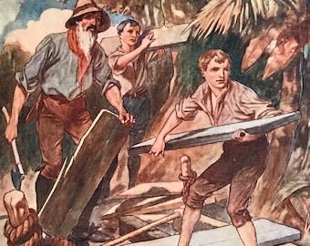 1924-Book Plate-Illustration-Golden Age-Swiss Family Robinson-Johann David Wyss-TH Robinson-Desert Island-Shipwreck-Home decor