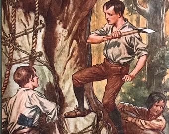 1924-Book Plate-Illustration-Golden Age-Swiss Family Robinson-Johann David Wyss-TH Robinson-Desert Island-Ship Wreck-Home decor