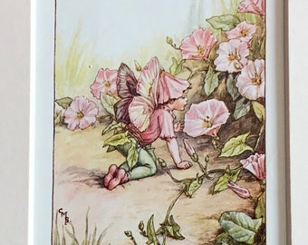 1940's Book Plate-Cicely Mary Barker-Flower Fairies-Convolvulus Flower-Summer-Fairyland-Matted-Ready to frame-Nursery-Home decor