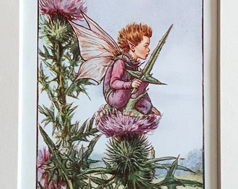 1940's Book Plate-Cicely Mary Barker-Flower Fairies-Thistle-Summer-Scottish-Pixie-Elf-Matted-Nursery-Home decor