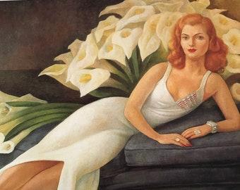 Diego Rivera-Art-Portrait of Natasha Zakolkowa Gelman-Calla Lilies-Vintage-Postcard-Mexico-Home decor