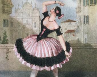 1948-Original-Vintage-Ballet-Print-Lithograph-Dance-Prima Ballerina-Las Boleras De Cadiz-Home-Wall-Nursery-decor