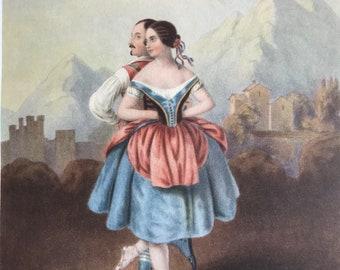 1948-Original-Vintage-Ballet-Print-Lithograph-Dance-Prima Ballerina-La Redowa Polka-Home-Wall-Nursery-decor