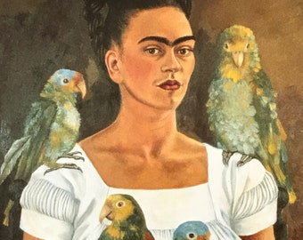 Frida Kahlo-Frida-Art-Vintage Postcard-Self-Portrait-Parrots-Mexico-Surrealism-Home Decor