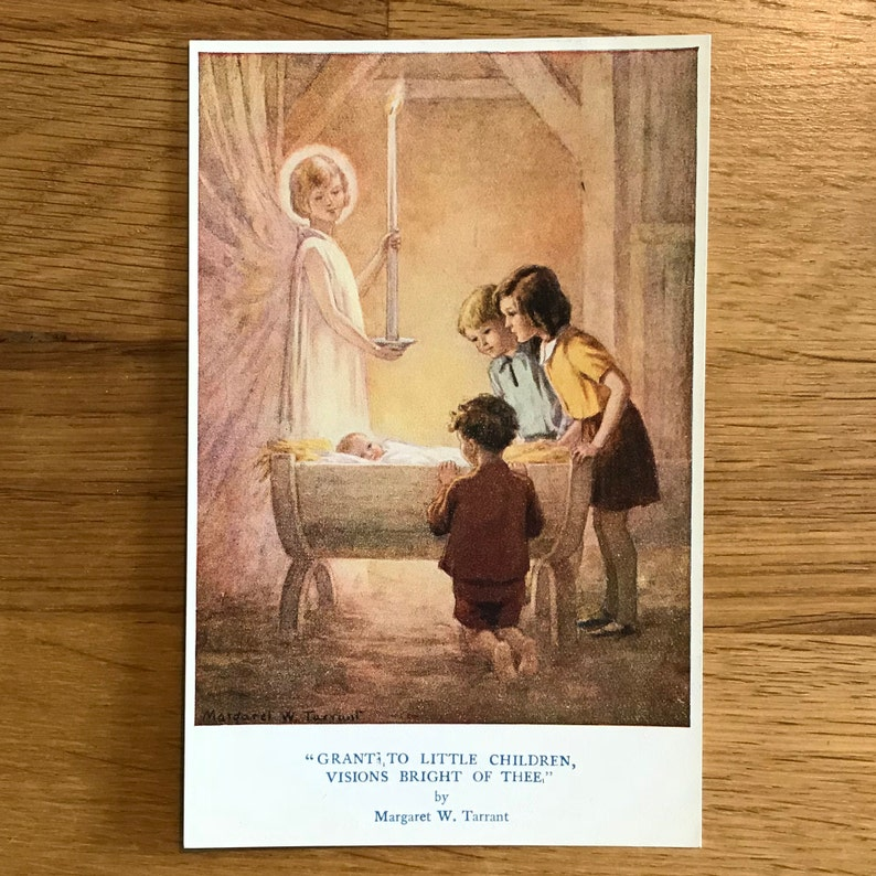 Original-Vintage-Postcard-Margaret W  Tarrant-The Medici Society-The  Devotional Series-Religous Ephemera-Biblical-Home-Nursery- Decor