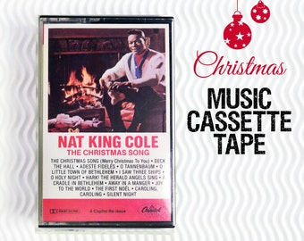 Christmas Music, Christmas Cassette, Nat King Cole, The Christmas Song, Holiday Music Tape, Music Cassette Tape, audio tape, Christmas carol