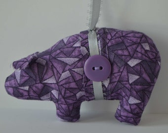Purple Stain Glass Pig