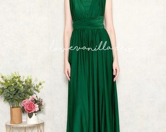 e9da36c68b8 Bridesmaid Dress Infinity Dress Deep Green Floor Length Maxi Wrap Convertible  Dress Wedding Dress