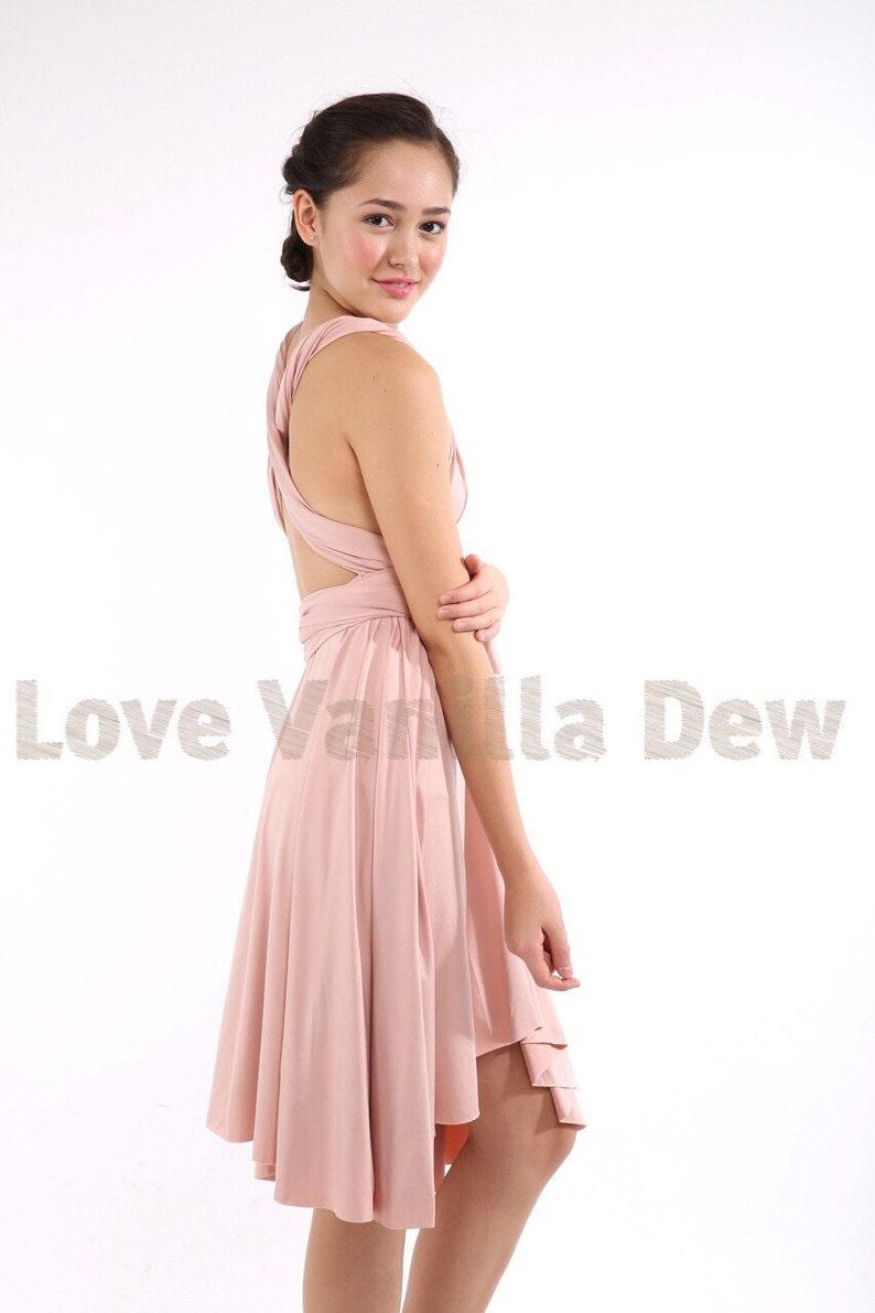 Olive green Velvet Bridesmaid Dress Nude pink infinity