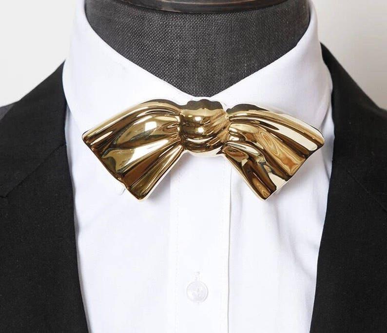 0a737f3457cf Groom Bow Tie Groomsmen Gold Bow Ties Custom Wedding Bow Ties | Etsy