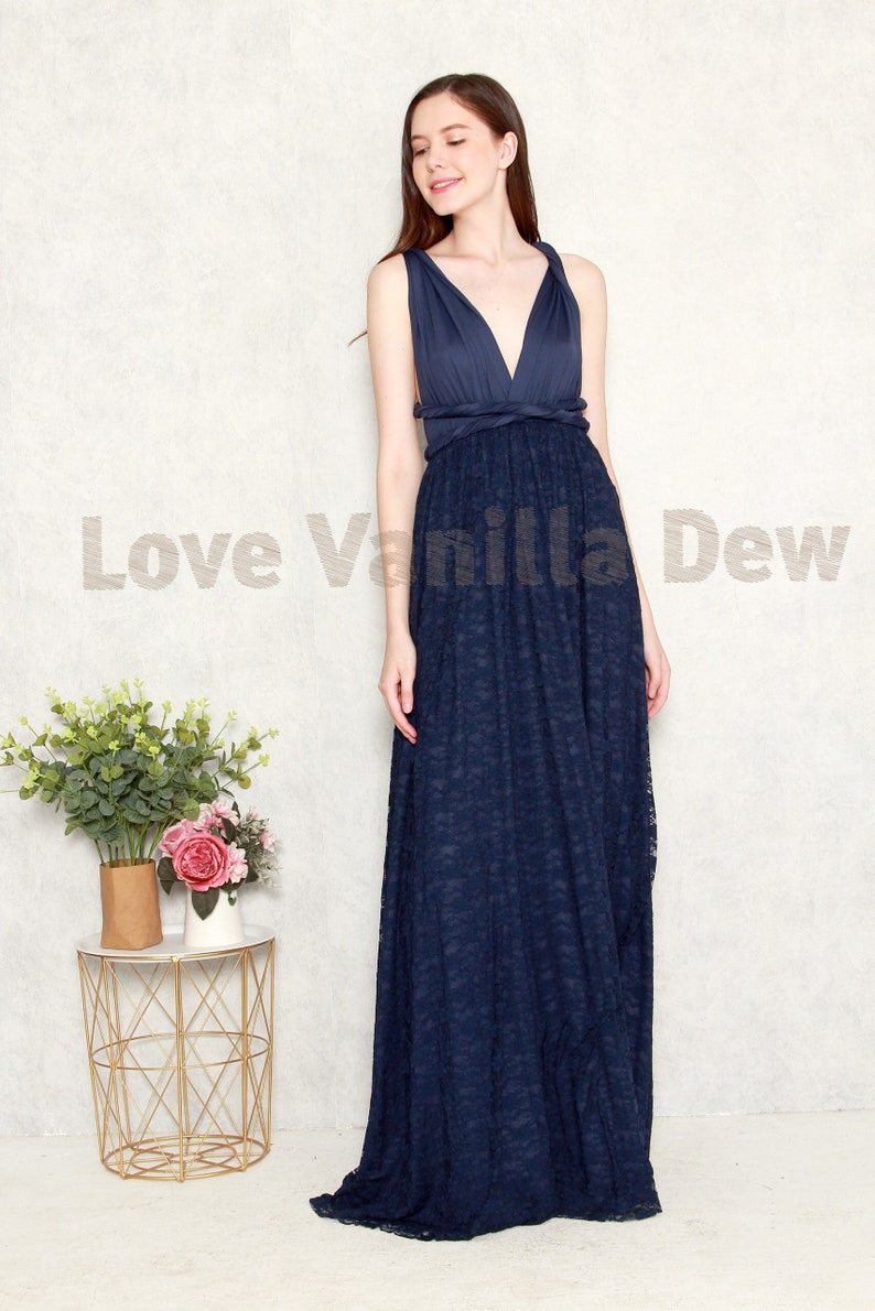 9075b5682bdbe Bridesmaid Dress Infinity Dresses Navy Lace Floor Length Maxi | Etsy