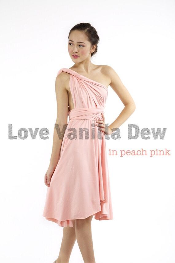 best service e358d e0517 Damigella d'onore abito Infinity pesca rosa ginocchio lunghezza Wrap  convertibile abito da sposa