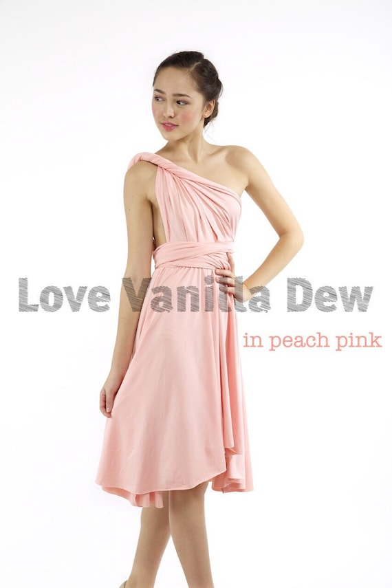 Dama de honor vestido infinito vestido melocotón rodilla rosa