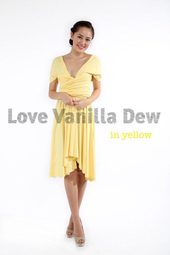 Bridesmaid Dress Infinity Dress Lemon Yellow Knee Length Wrap