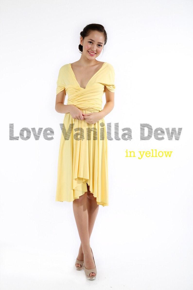 Bridesmaid Dress Infinity Dress Lemon Yellow Knee Length Wrap image 0