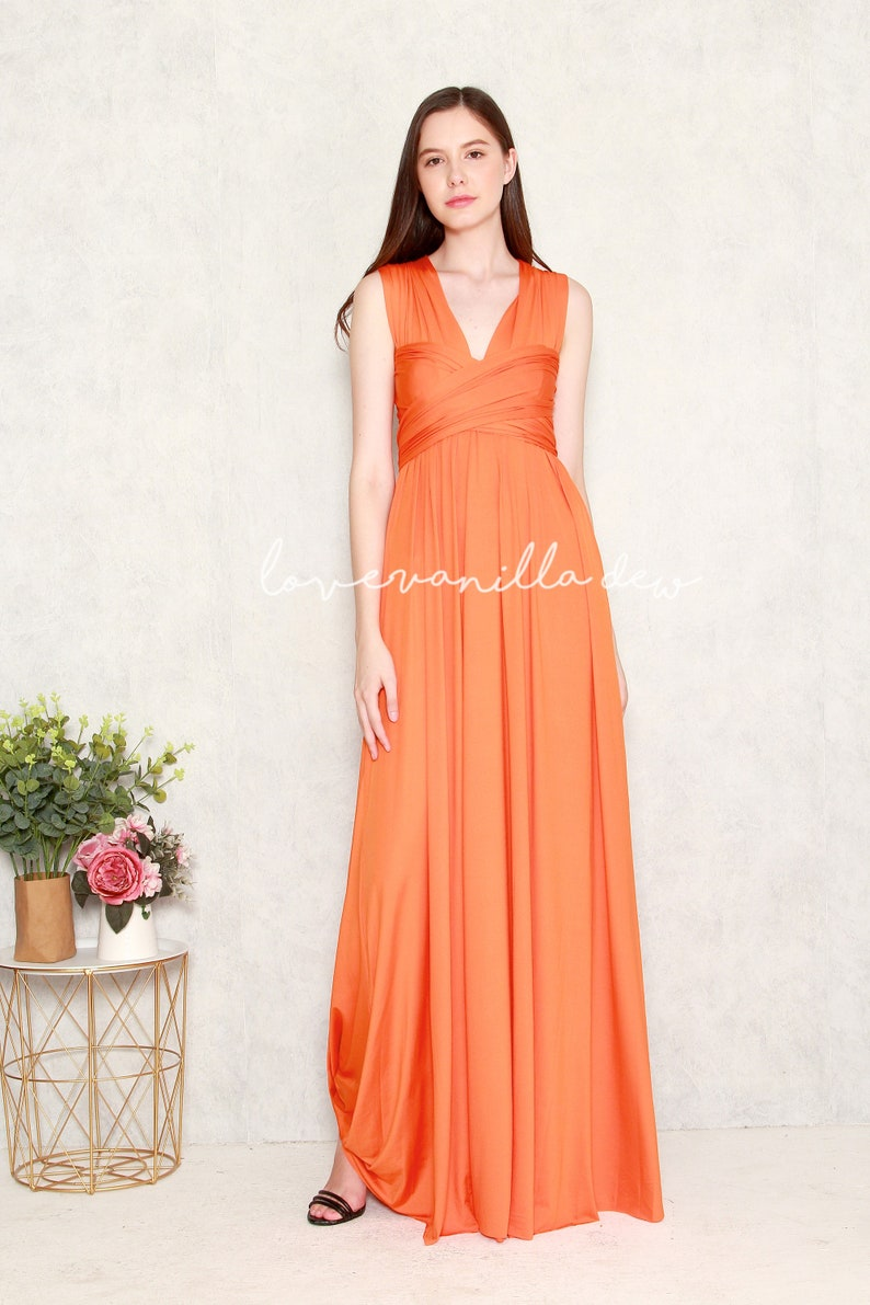 0c74b533be8 Bridesmaid Dress Infinity Dress Tangerine Floor Length Maxi