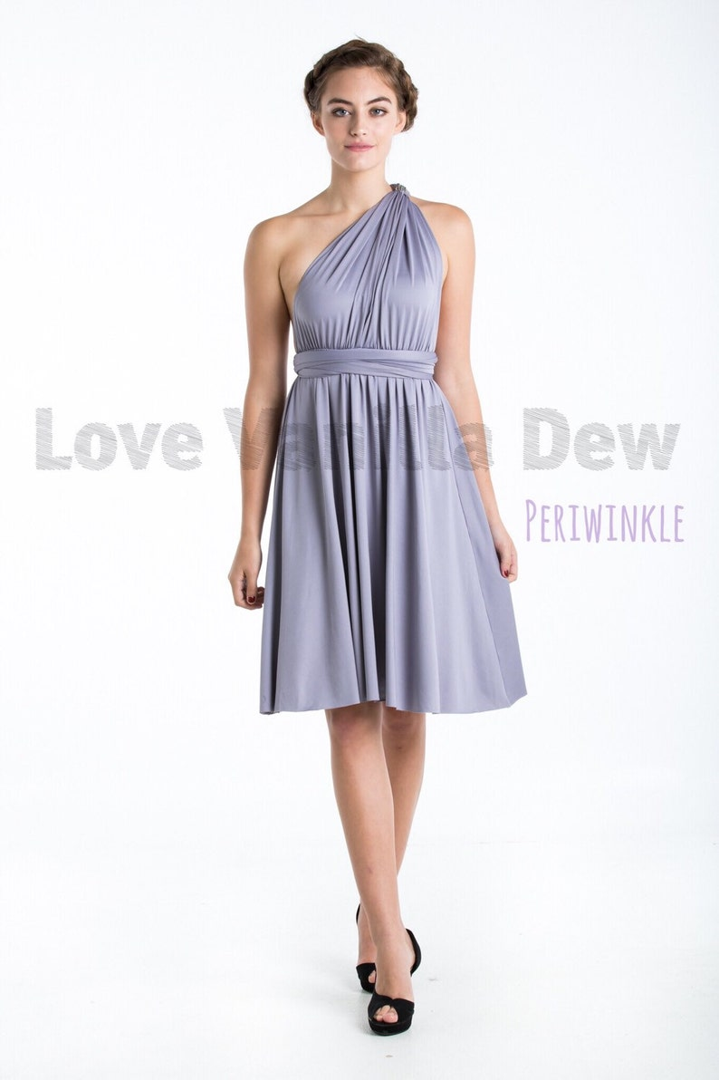 Bridesmaid Dress Infinity Dress Periwinkle Straight Hem Knee Etsy