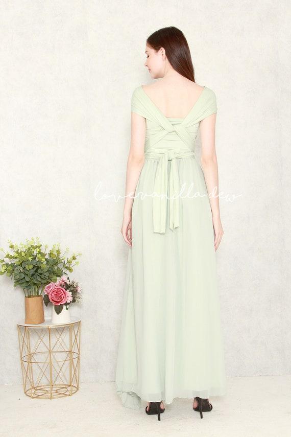 1e6a7c13e9ea Bridesmaid Dress Infinity Dress Mint with Chiffon Overlay Floor Length Maxi  Wrap Convertible Dress Wedding Dress