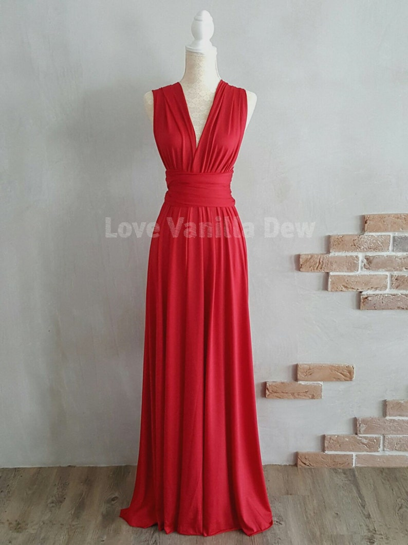 Bridesmaid Dress Infinity Dress Chilli Red Floor Length Maxi image 0
