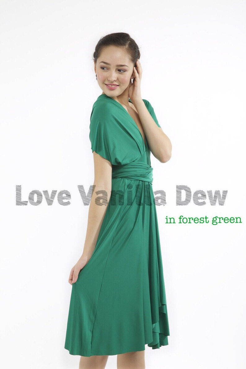 Bridesmaid Dress Infinity Dress Forest Green Knee Length Wrap image 0