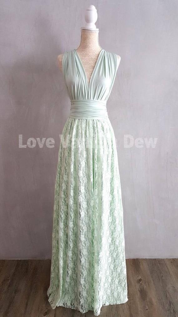 Brautjungfer Kleid Infinity Kleider Mint Spitze bodenlangen