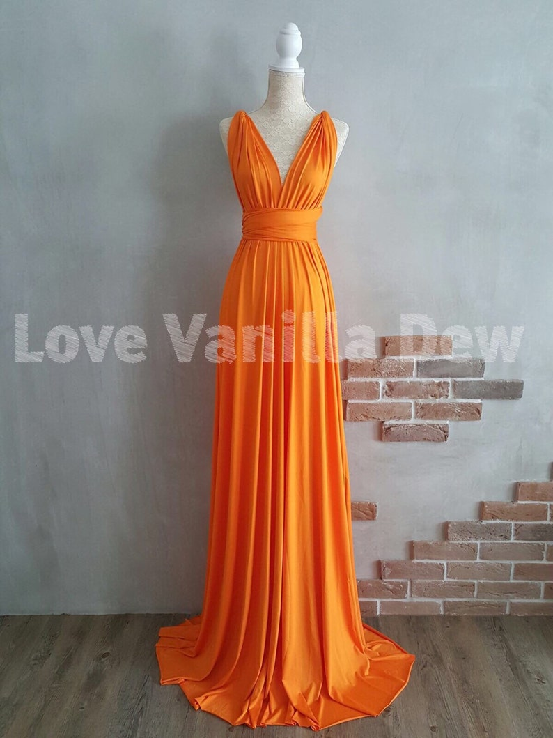 231c9a05df3 Bridesmaid Dress Infinity Dress Bright Orange Floor Length