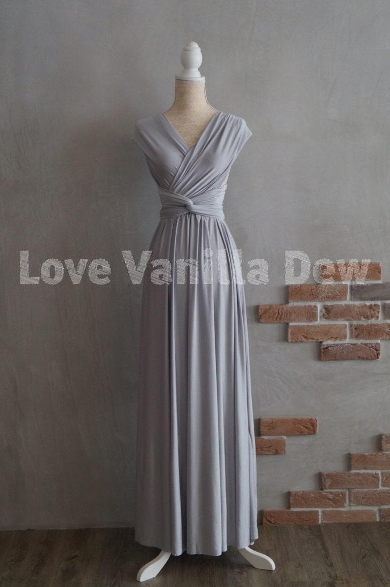 c2f181189e7 Bridesmaid Dress Infinity Dress Silver Floor Length Maxi Wrap