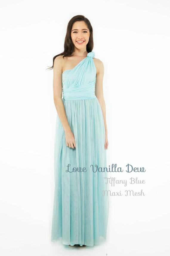Kleid Brautjungfer Kleid Infinity Pastellblau mit Mesh Maxi