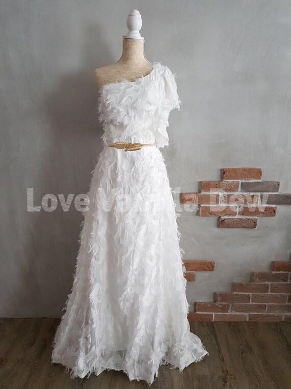 One Shoulder Strap Wedding Dress One-shoulder Wedding Dress   Etsy