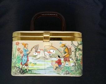 Handmade & Painted Japanese-themed Handbag c.1950s