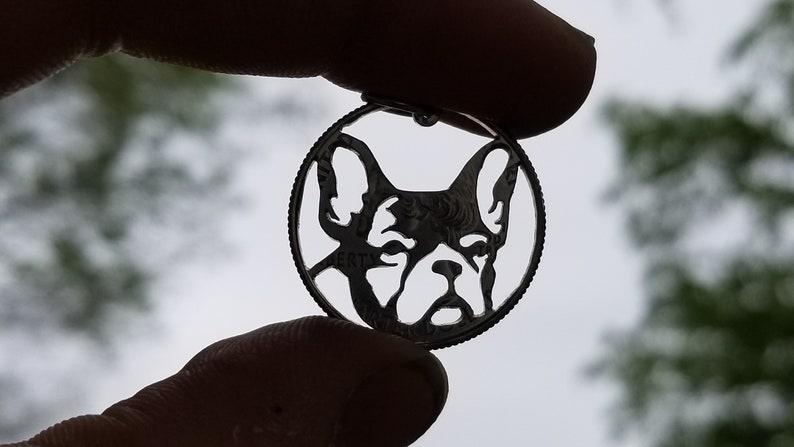 French bulldog necklace French bulldog pendant French bulldog face pendant Frenchie dog breed pendant hand cut coin pendant