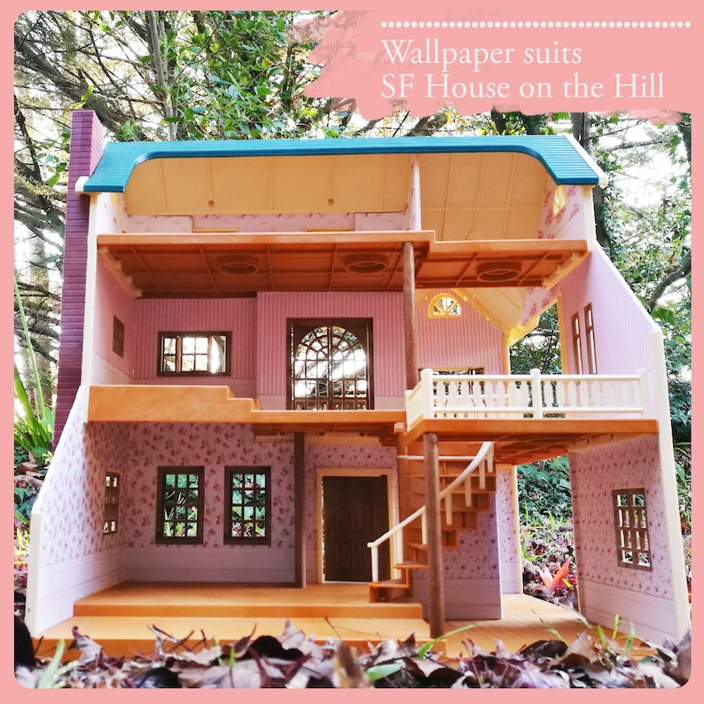 Custom Wallpaper For Sylvanian Families Calico Critters House On The Hill