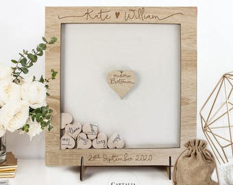 Large Classic Lightened Oak Rustic Elegant Alternative Personalised drop box Oak frame Wedding Guest Book with Hearts and Burlap Pouch Frame