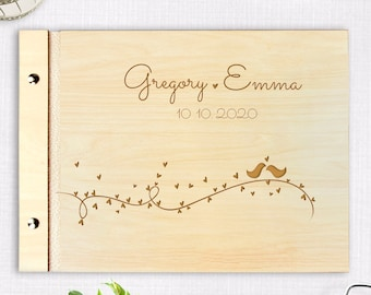 Wooden Wedding Guest Book, Rustic Guestbook, Rustic Bird, Laser Engraved Names Bride and Groom, Many Colours, Personalized